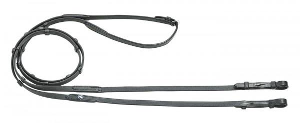 Zügel BIOTHANE® mit Stegen 15mm Schwarz