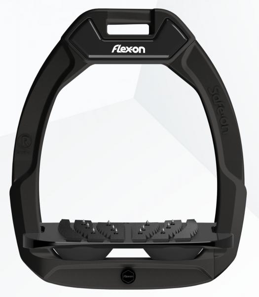 Flex-on Sicherheitssteigbügel Safe-On Schrägtritt mit Ultragrip - schwarz/schwarz/schwarz