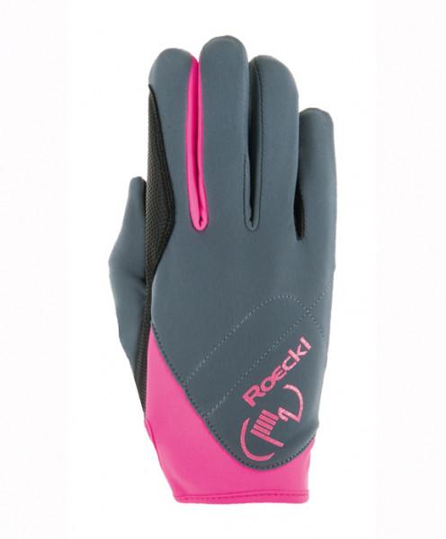 Roeckl Reithandschuh Trudy - Grau / Pink